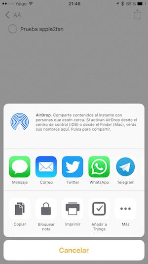 iOS 9.3 cifrado notas