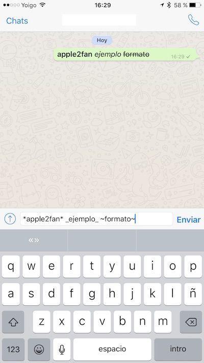 Formato en WhatsApp para iOS