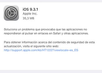 Actualización iOS 9.3.1
