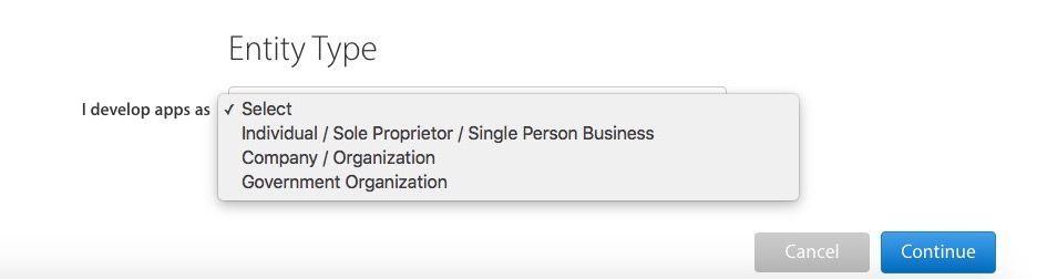Tipo licencia desarrollador Apple