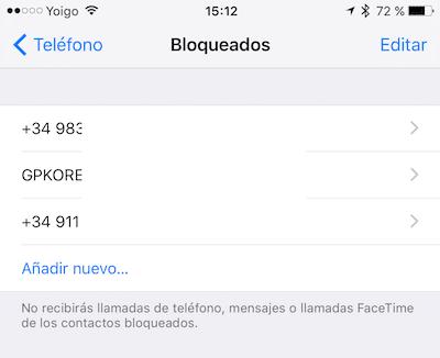 Bloquear un número en iPhone
