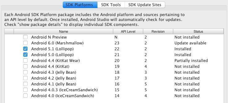 instalar paquetes sdk android studio