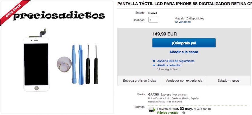 precio pantalla iphone 6s ebay