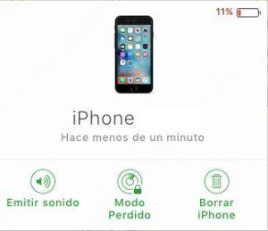 buscar iphone iCloud opciones