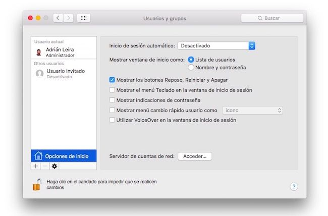 iniciar sesión automáticamente en Mac