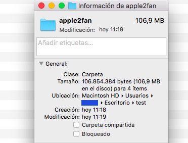 Ver el tamaño de una carpeta en Mac