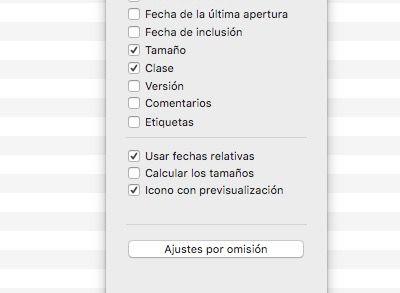 opciones visualizacion carpeta mac
