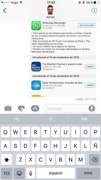 Confirmación de lectura en iMessage