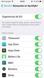 Desactivar sugerencias Siri