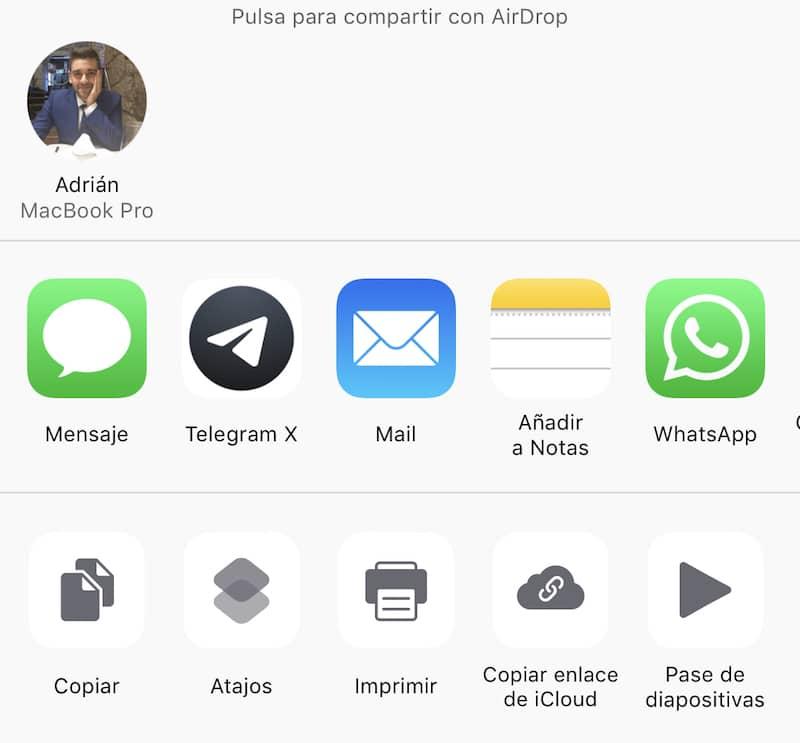 compartir archivos airdrop