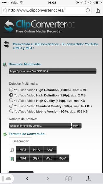 descargar videos de YouTube en iPhone