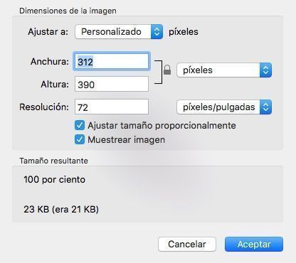 dimensiones imagen vista previa mac