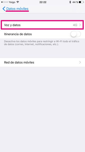 iPhone Datos celulares 1