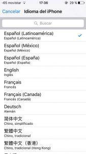 Idioma iPhone 3