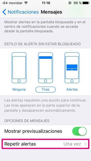 repetir alerta mensajes iOS