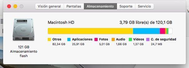 almacenamiento suficiente mac