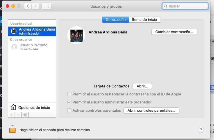 cambiar inicio sesion mac