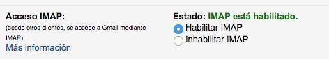 habilitar imap gmail