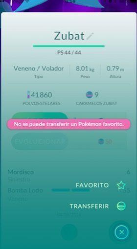 no se puede transferir pokemon go