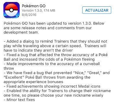 novedades pokemon go 1.3.0