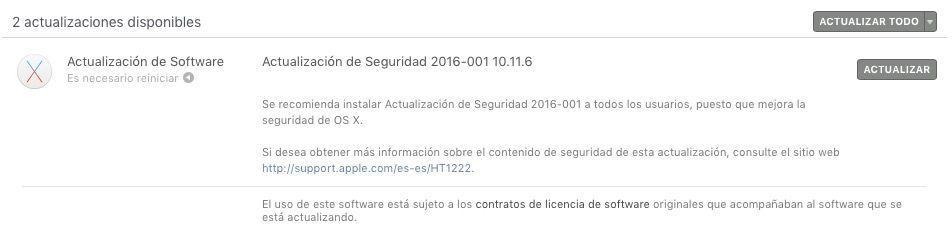 actualizacion seguridad os x septiembre 2016