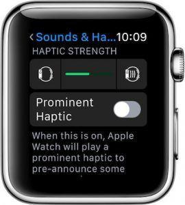 respuesta haptica apple watch