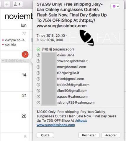 spam icloud calendario