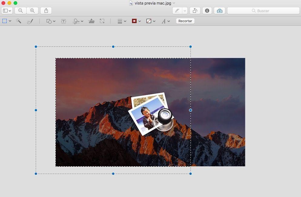recortar una imagen con Vista Previa en Mac