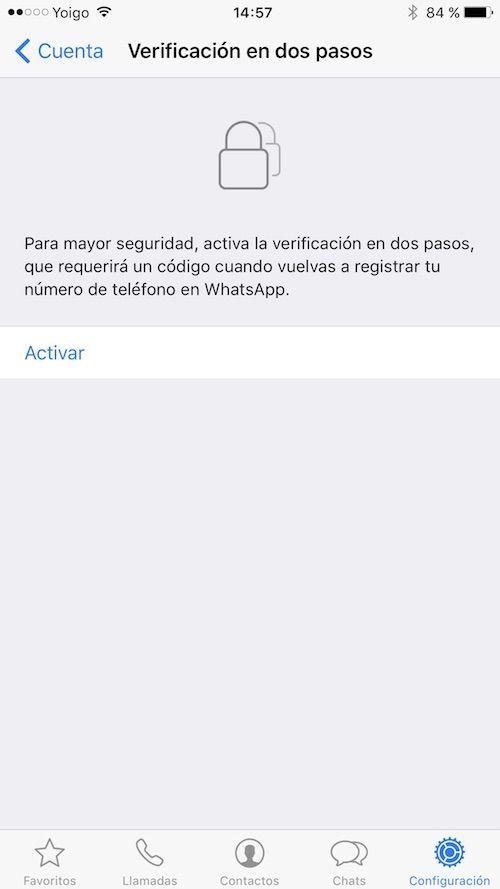 activar verificacion dos pasos whatsapp