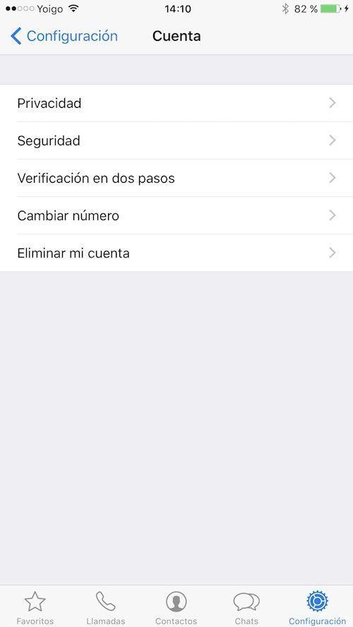 configuracion seguridad whatsapp