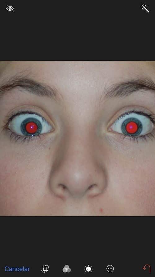 ojos rojos iphone
