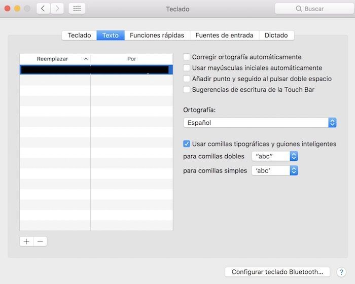 teclado texto macOS