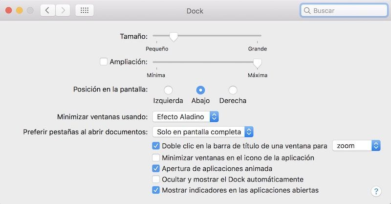 ajustes dock mac