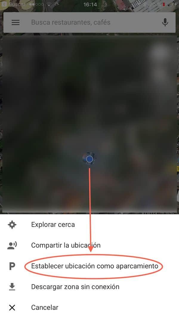 establecer aparcamiento google maps ios