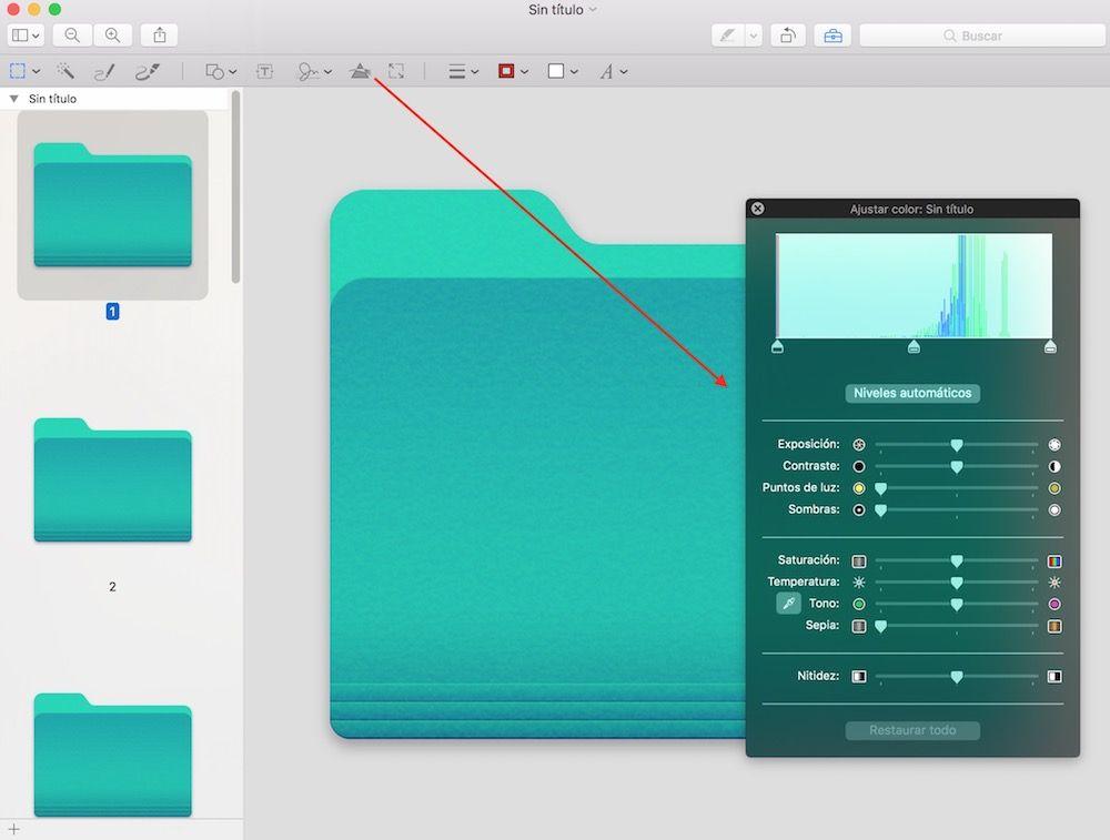 ajustar color carpeta vista previa mac