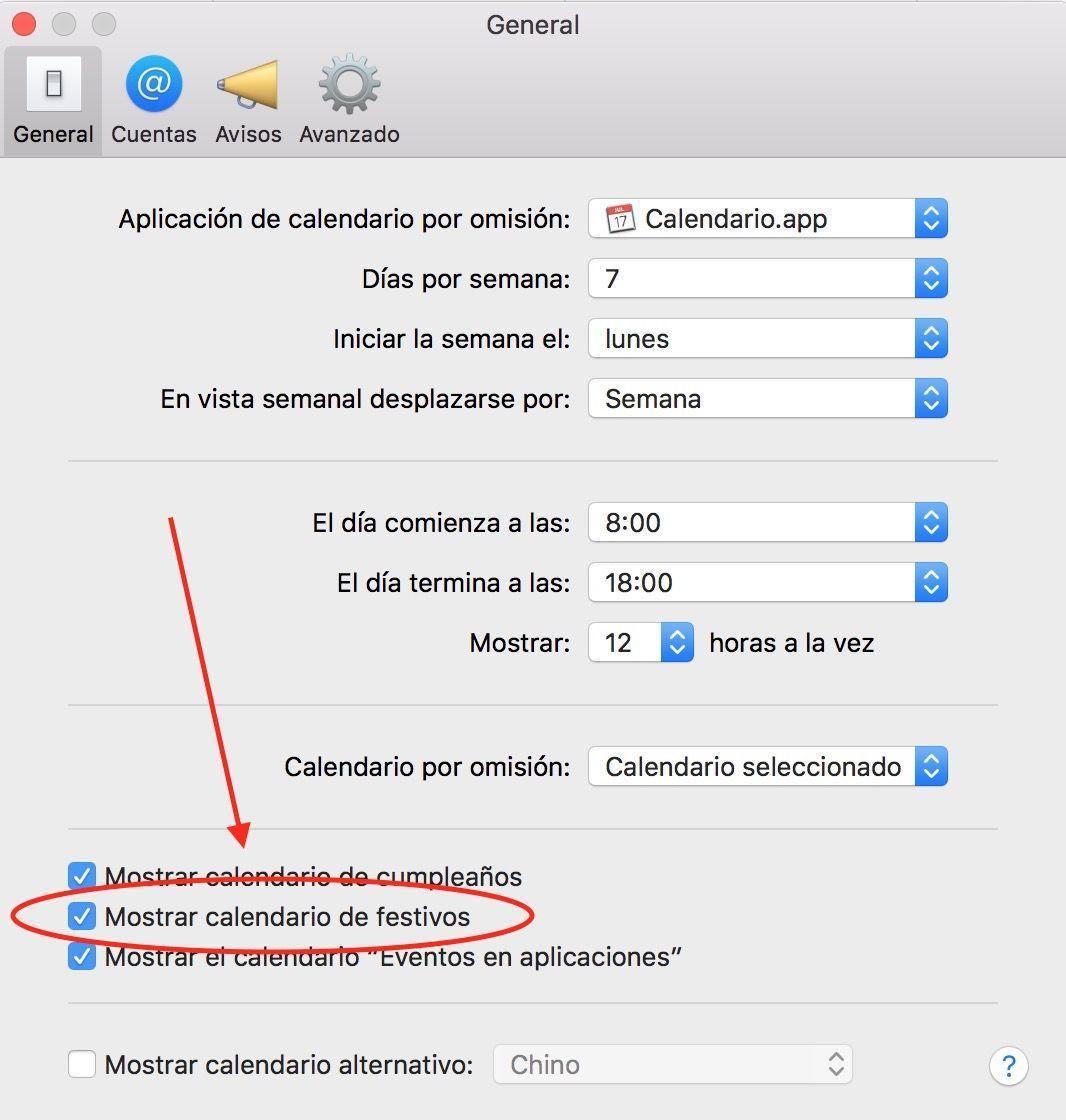 mostrar el calendario de festivos en Mac