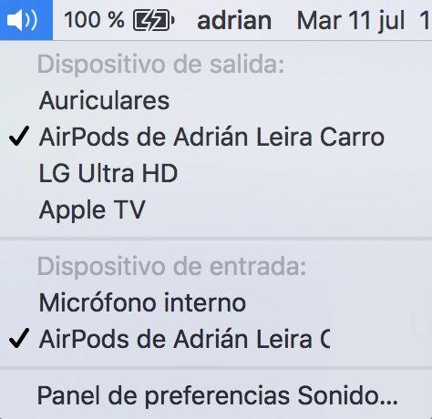 cambiar entrada salida audio mac