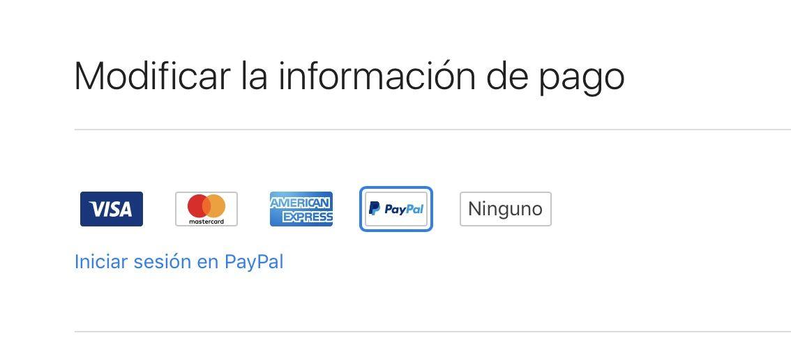 paypal forma de pago itunes