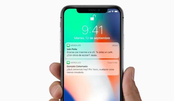 que tiene la barra superior iphone x