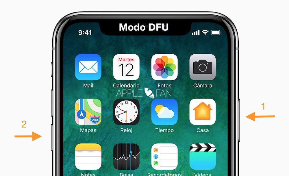 poner modo dfu iphone x