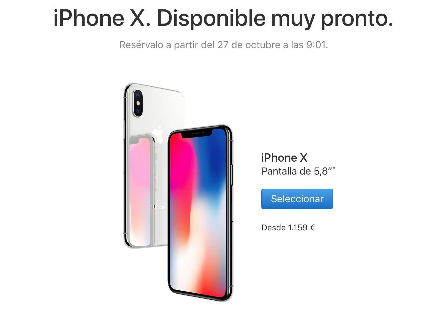 comprar iphone x 27 octubre