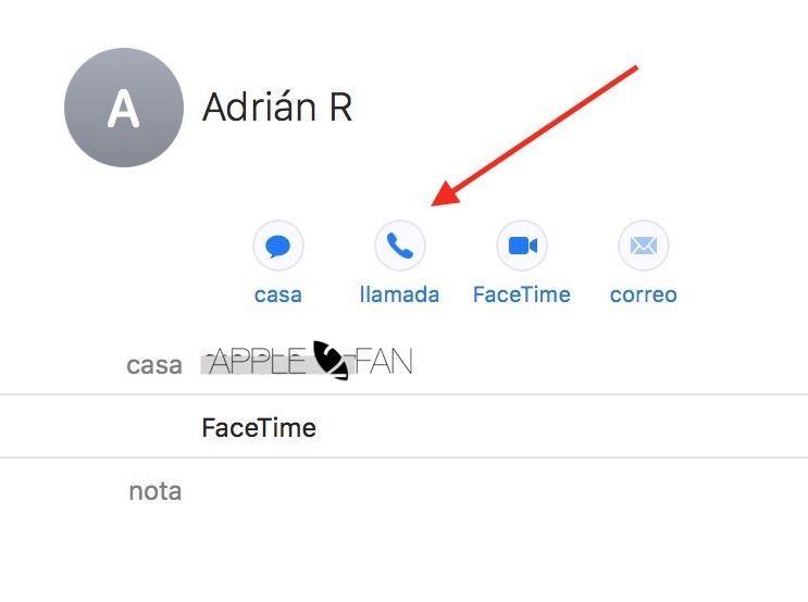 llamar contacto desde mac