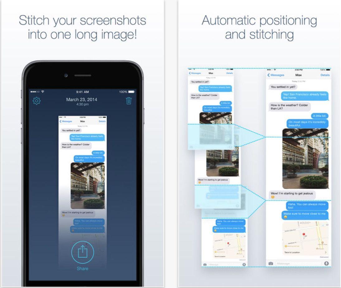 combinar capturas de pantalla iphone