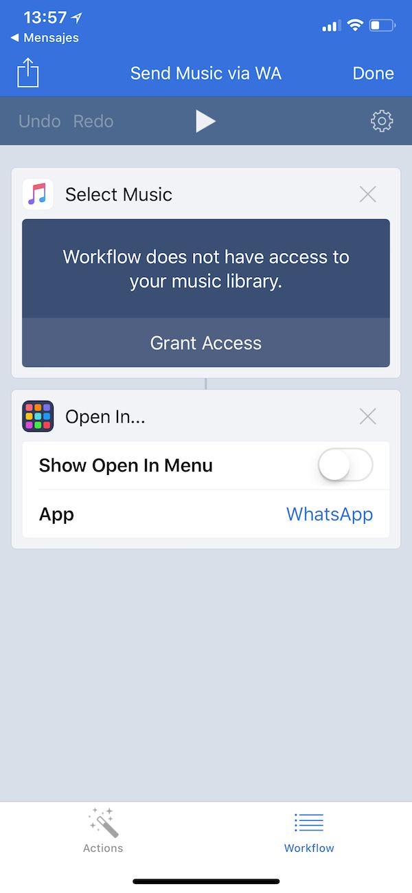 enviar mp3 workflow