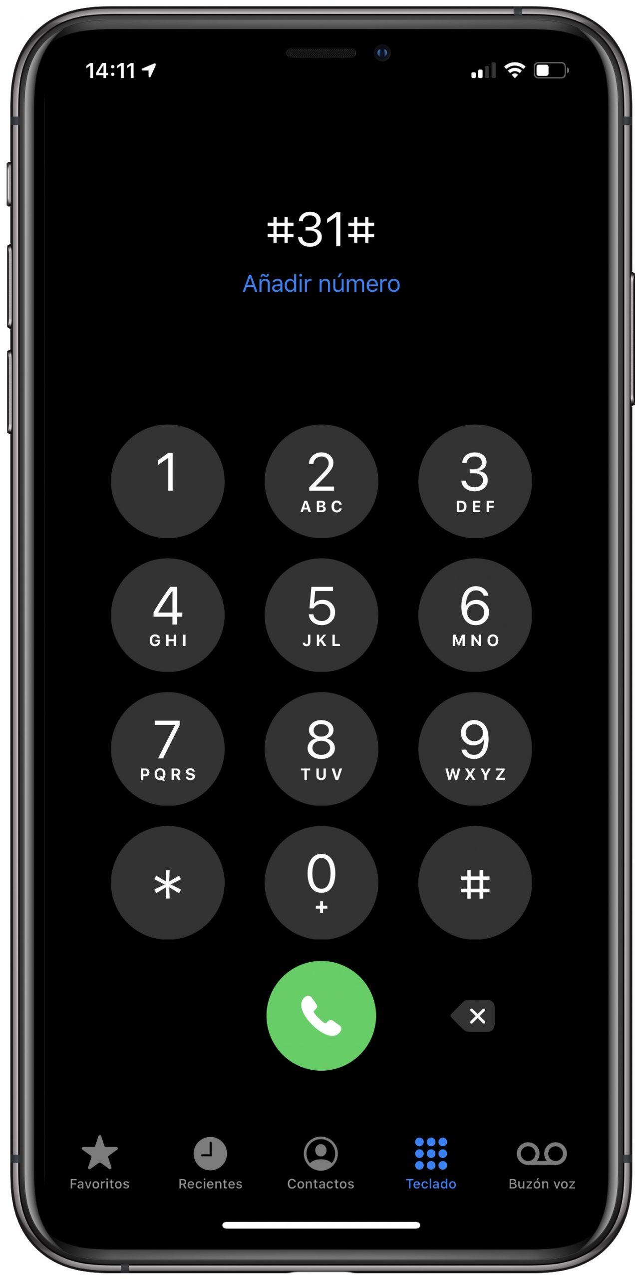 prefijo numero oculto iphone