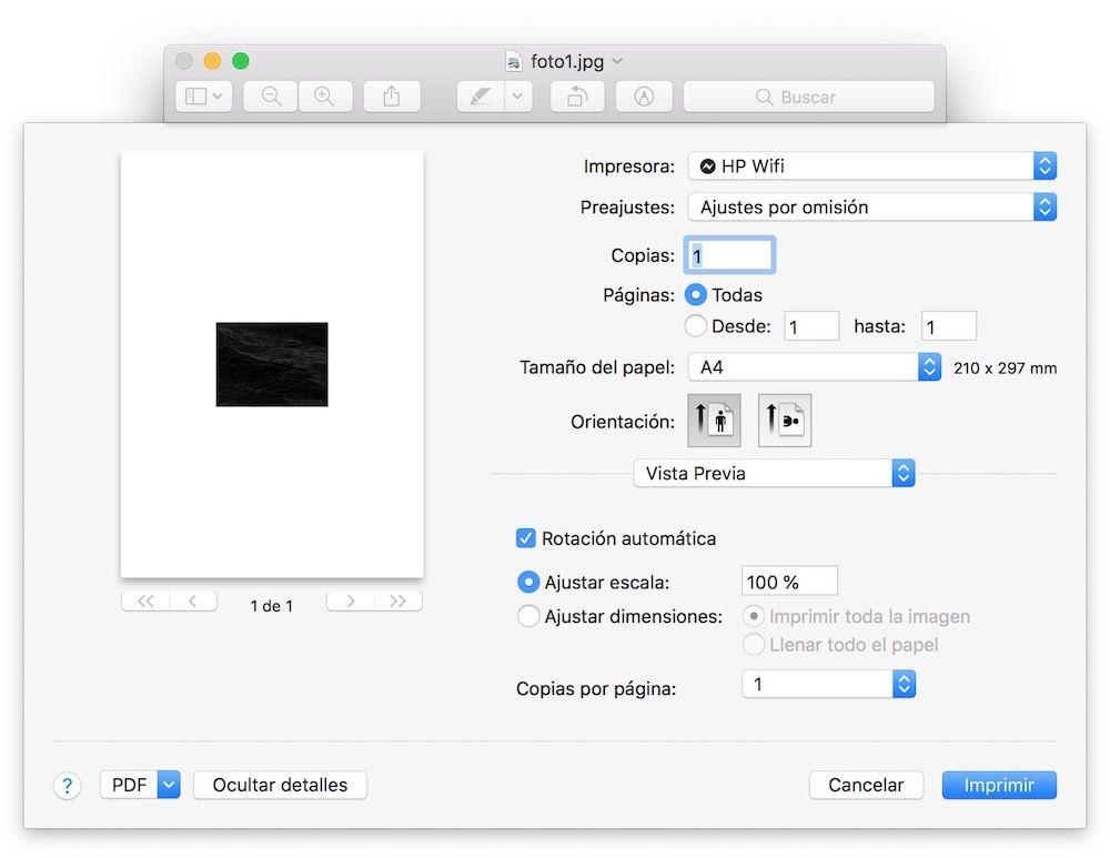 menu expandido de impresion mac