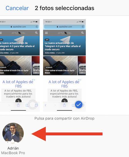compartir imagenes airdrop