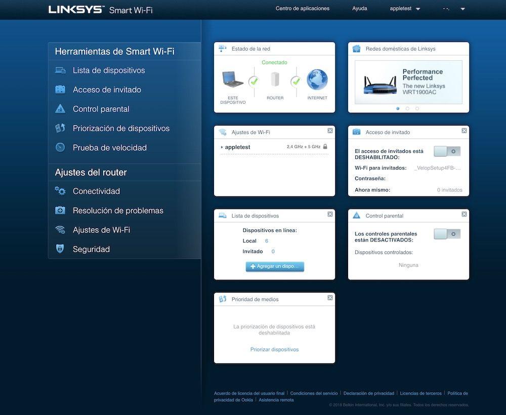interfaz web Linksys Velop