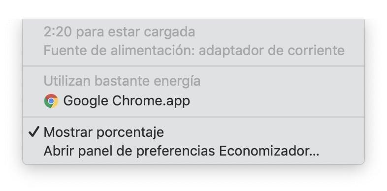 mostrar porcentaje bateria mac