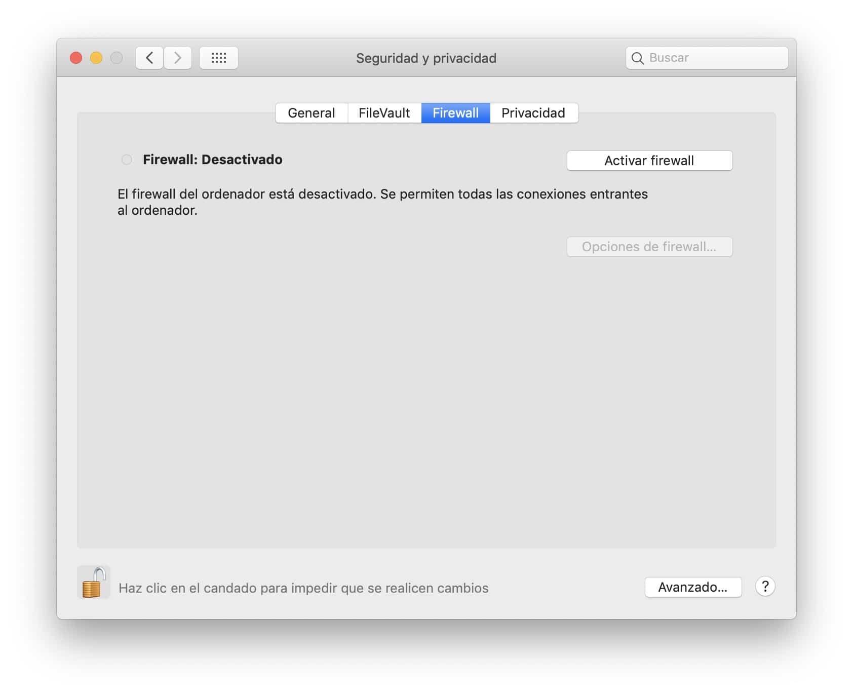 activar el firewall en Mac
